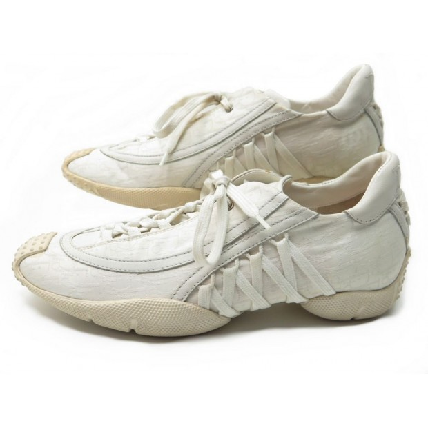 CHAUSSURES DIOR TD0703 36 BASKETS TOILE BLANC MONOGRAMME SNEAKERS WHITE 749€