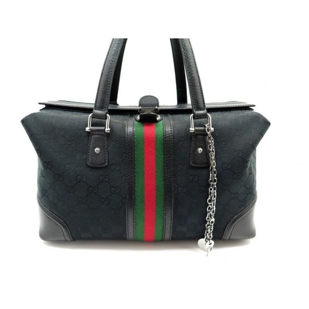SAC A MAIN GUCCI 150335 TREASURE LARGE BOSTON EN TOILE NOIR HAND BAG PURSE 370€