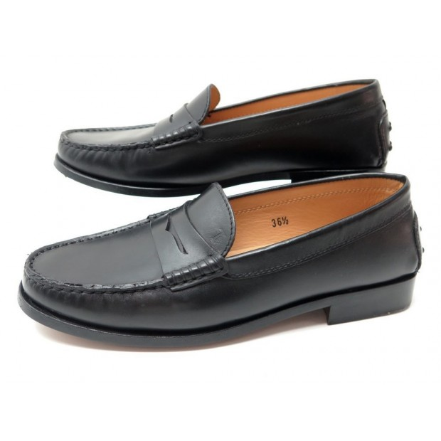 NEUF CHAUSSURES TOD'S GOMMINO 36.5 IT 37.5 FR MOCASSINS CUIR NOIR SAC SHOES 340€
