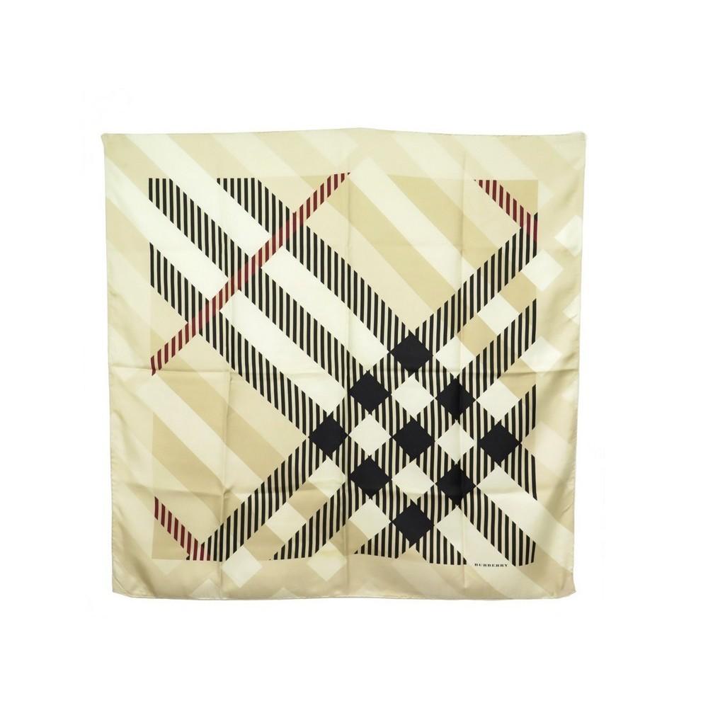foulard burberry carre 90 cm en soie beige tartan a4c41c88053