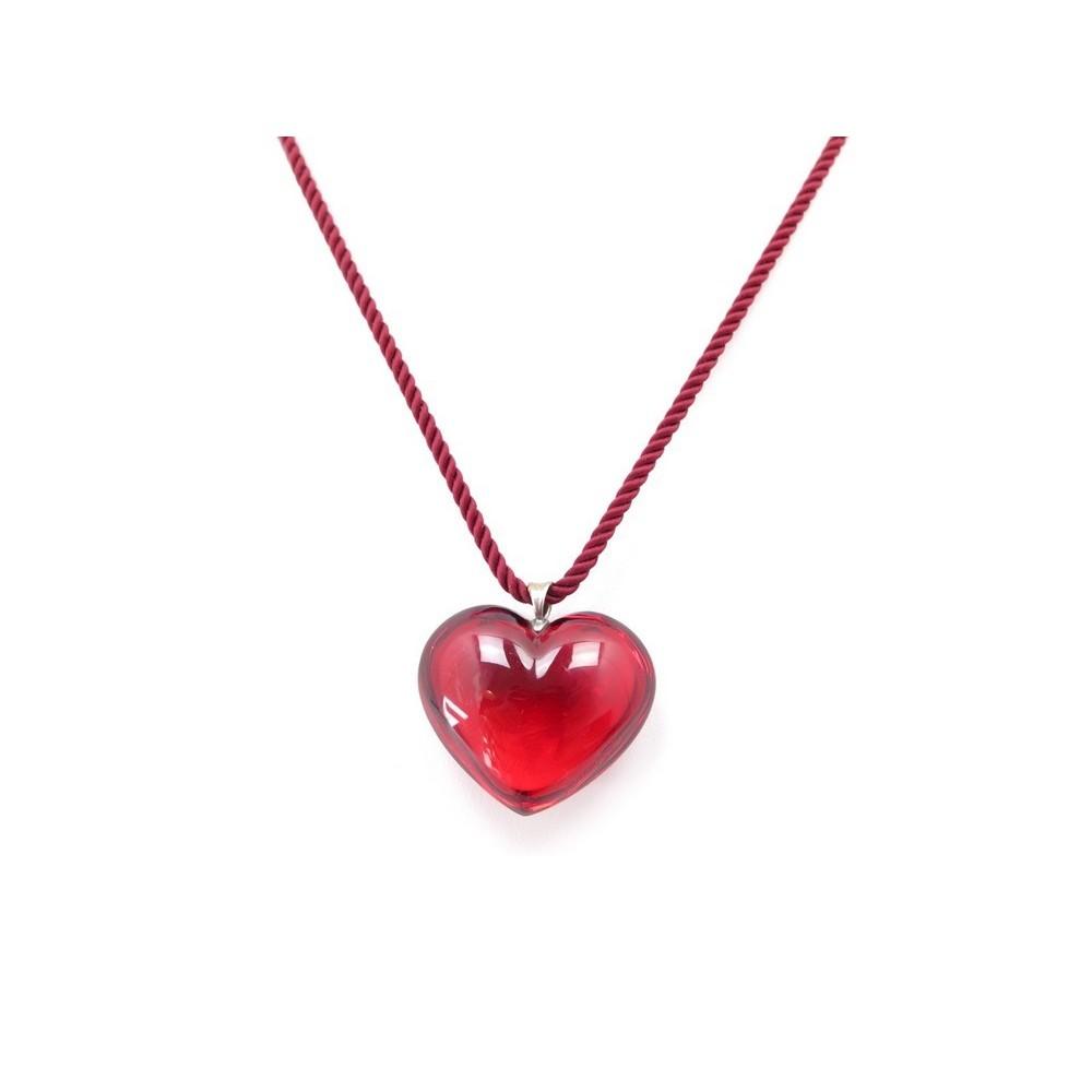 pendentif baccarat coeur en cristal rouge collier 48