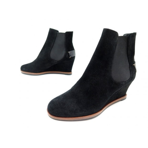 NEUF CHAUSSURES FENDI BOTTINES 8T4116 35 IT 36 FR EN DAIM NOIR BOOTS SHOES 640€