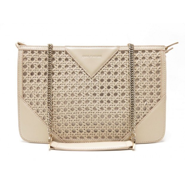 NEUF SAC A MAIN ANNE FONTAINE JUNE CAN P16A120 BANDOULIERE CUIR BEIGE PURSE 450€