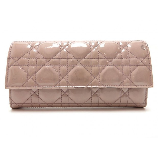 PORTEFEUILLE SAC CHRISTIAN DIOR DISCOVERY LADY CUIR VERNI VIEUX ROSE WALLET 550€