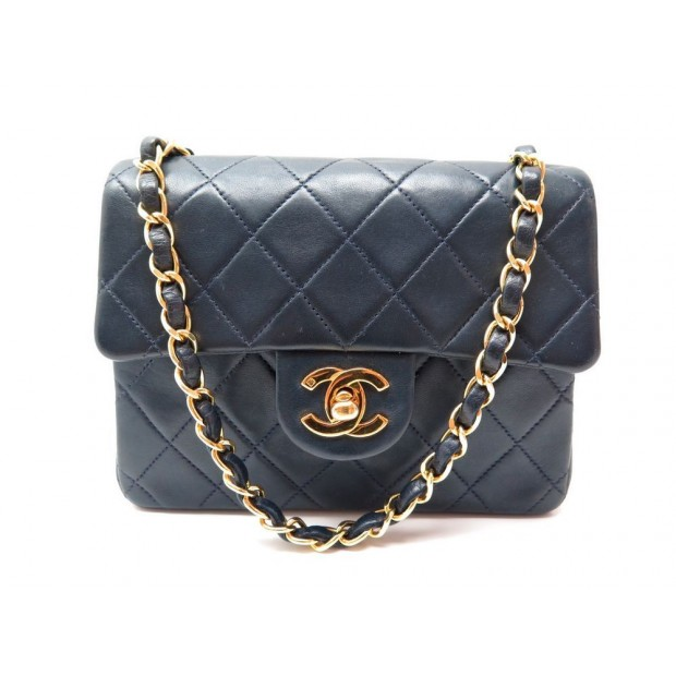 c3e7b9f416 sac a main chanel mini timeless en cuir bleu