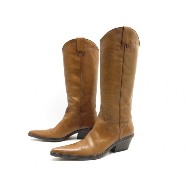 NEUF CHAUSSURES SARTORE 41 41.5 BOTTES CUIR CAMEL BOITE SHOES BOOTS LEATHER 751€