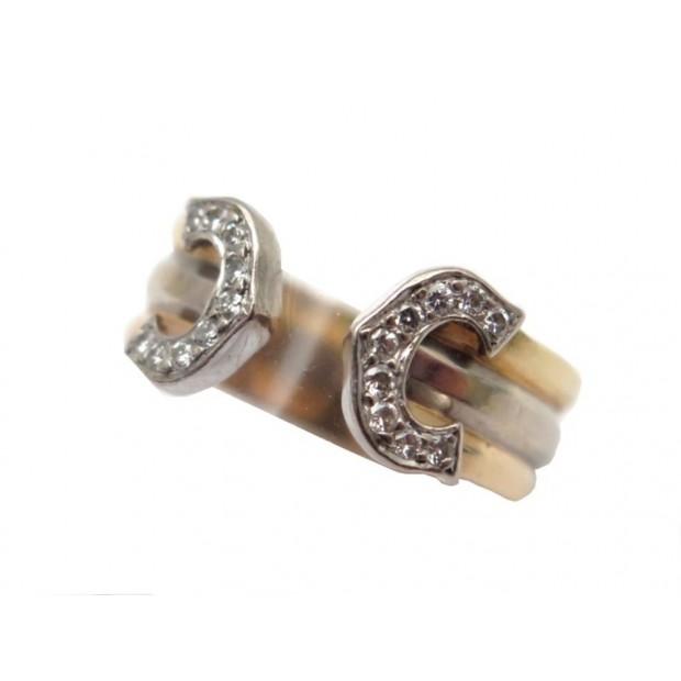 VINTAGE BAGUE CARTIER DOUBLE C T 48 TROIS OR 3.5GR & 18 DIAMANTS DIAMONDS RING