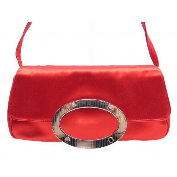 SAC A MAIN SERGIO ROSSI POCHETTE DE SOIREE EN SATIN ROUGE CLUTCH HAND BAG 450€