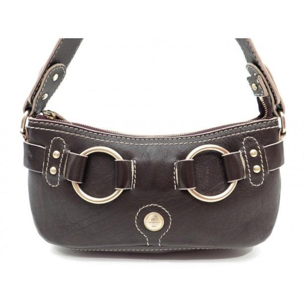 SAC A MAIN LANCEL 27 CM POCHETTE EPAULE EN CUIR MARRON HAND BAG PURSE 425€