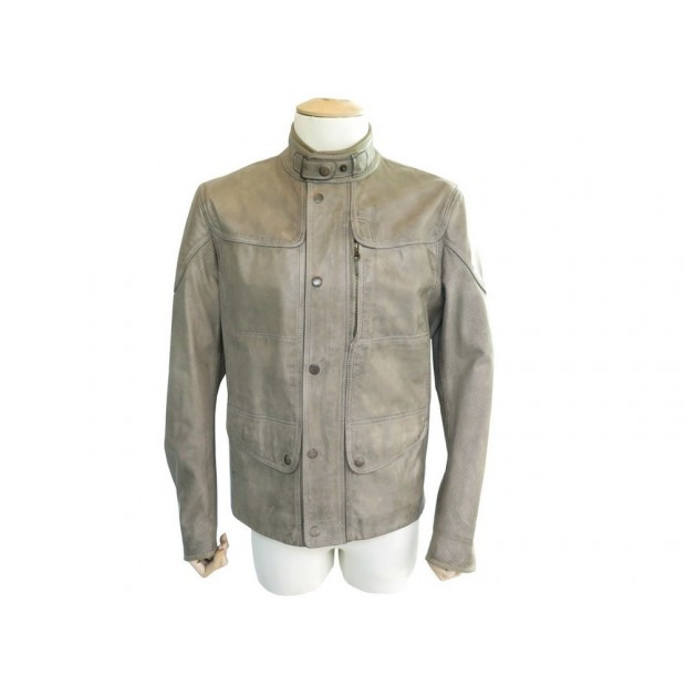 BLOUSON MATCHLESS XL L 50 FR VESTE EN CUIR BEIGE MANTEAU LEATHER JACKET 1400€