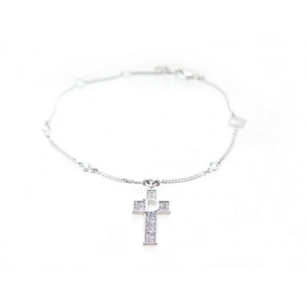 BRACELET DIOR EN METAL ARGENTE & STRASS CROIX BIJOU CROSS SILVERED JEWEL 230€