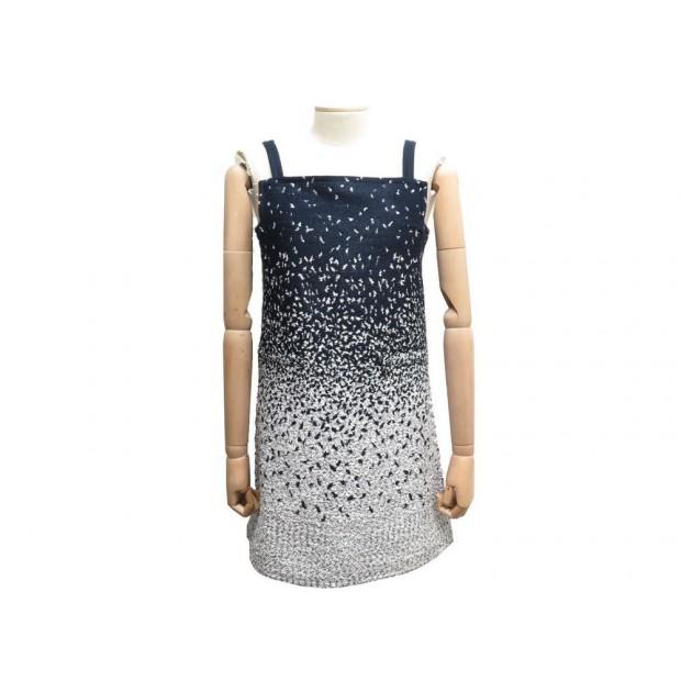 ROBE COURTE SANS MANCHE COURREGES M 40 EN ACRYLIQUE BLEU & BLANC DRESS 1200€