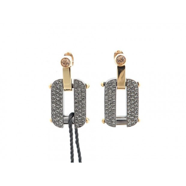 NEUF BOUCLES D'OREILLES PENDANTES FENDI 8AG247 BRILLANTS & METAL EARRINGS 260€