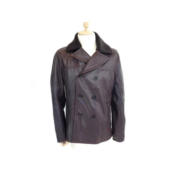 NEUF BLOUSON STRELLSON ARIZONA L 50 MANTEAU EN CUIR MARRON JACKET COAT 695€