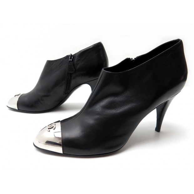 NEUF CHAUSSURES CHANEL G26133 40.5 BOTTINES A TALONS CUIR NOIR LOW BOOTS 890€