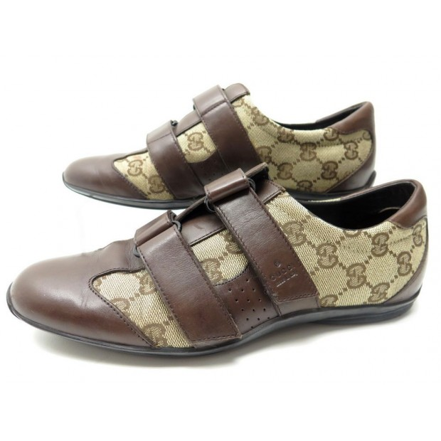CHAUSSURES GUCCI 121830 37 IT 37.5 FR BASKETS MONOGRAMM GG MARRON SNEAKERS 450€