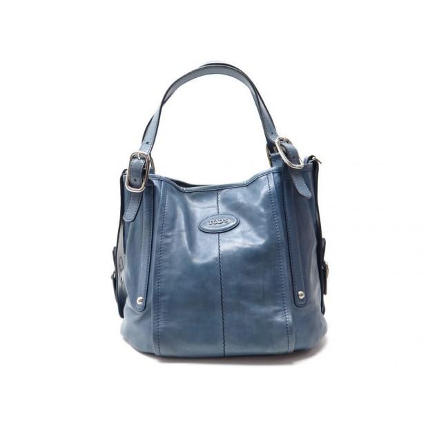 SAC A MAIN TOD'S CABAS EN CUIR BLEU BLUE LEATHER HAND BAG TOTE PURSE 1000€