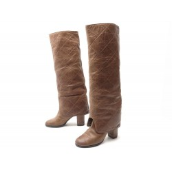 CHAUSSURES CHANEL BOTTES GUETRES MATELASSEES 28029 37.5 CUIR CAMEL BOOTS 1300€