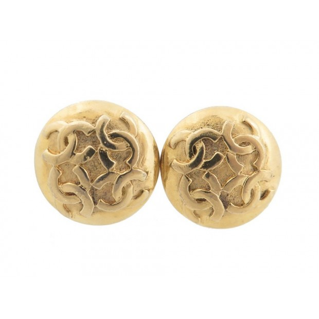 BOUCLES D'OREILLES RONDES A CLIP CHANEL EN METAL DORE LOGO CC GOLD EARRINGS 340€