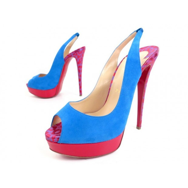 NEUF CHAUSSURES CHRISTIAN LOUBOUTIN LADY PEEP SLING 150 ESCARPINS 40 SHOES 890€