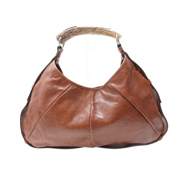 SAC A MAIN YVES SAINT LAURENT MOMBASA MOYEN MODELE EN CUIR MARRON PURSE BAG 850€