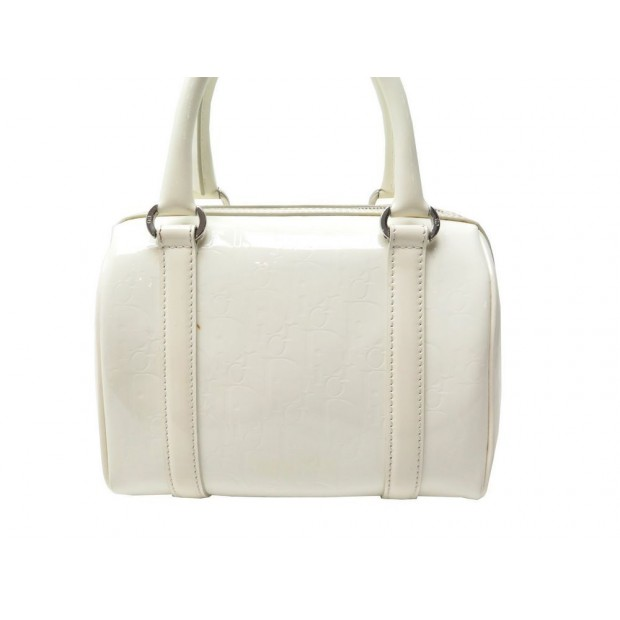 SAC A MAIN CHRISTIAN DIOR BOSTON PM EN CUIR VERNI BLANC PURSE HAND BAG 1050€