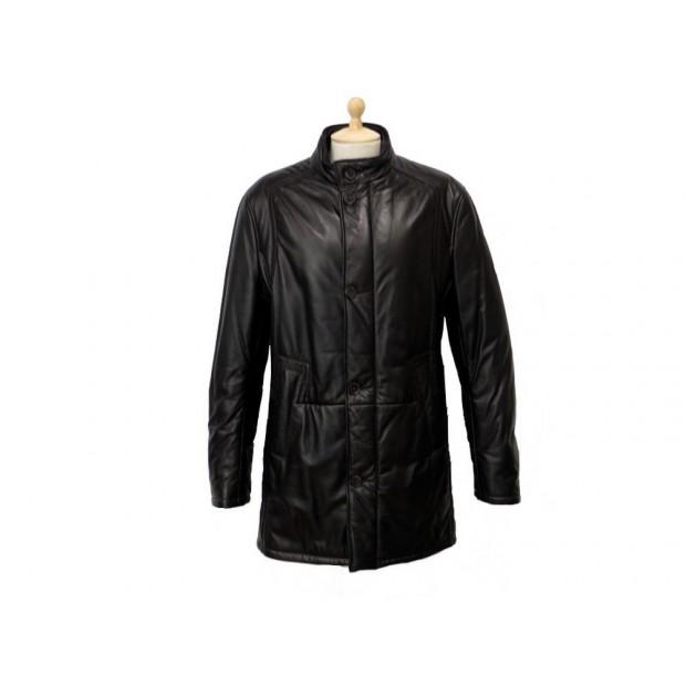 NEUF VESTE LAGERFELD 38 M MANTEAU LONG EN CUIR NOIR BLACK LEATHER COAT 1000€