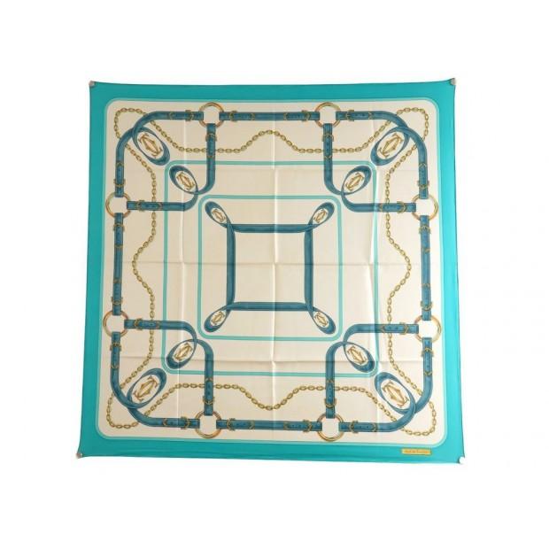 2f893dc8b82 foulard must de cartier carre en soie bleu sangles
