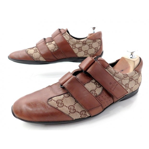 CHAUSSURES GUCCI BASKET 091835 43 IT 43.5 FR CUIR & TOILE GUCCISSIMA SHOES 470€