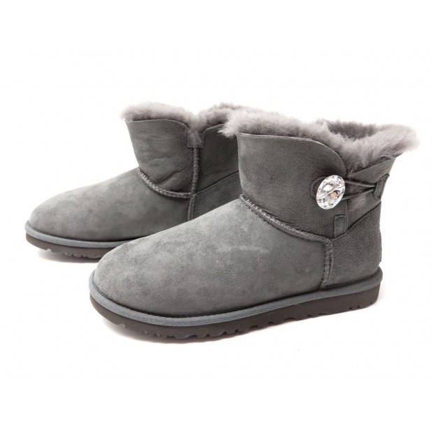 NEUF CHAUSSURES UGG 1016554 37 MINI BAILEY BUTTON BLING BOTTINES FOURREES 210€