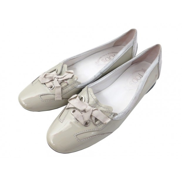 CHAUSSURES TOD S BALLERINES 38.5 IT 39.5 FR CUIR VERNI + SAC SHOES