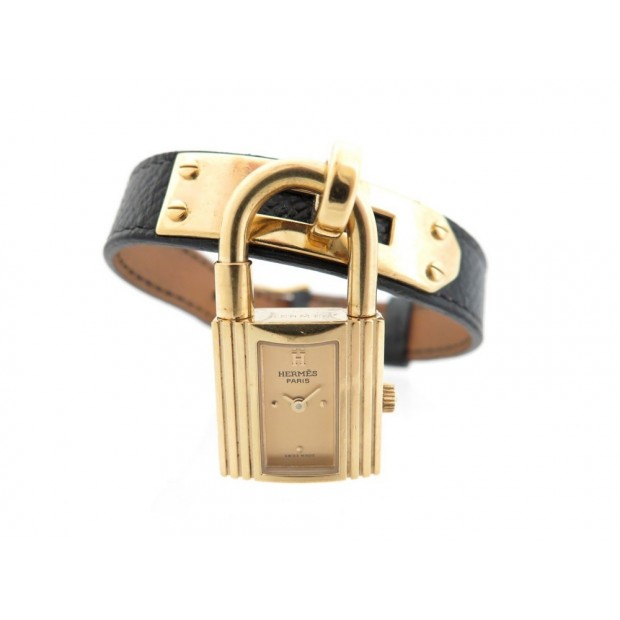 MONTRE HERMES KELLY PM PLAQUEE OR BRACELET EN CUIR NOIR + SAC GOLD WATCH 2350€