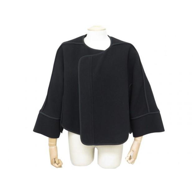 VESTE CHLOE 40 M MANTEAU FEMME CAPE EN LAINE NOIR BLACK WOOL JACKET COAT 1290€
