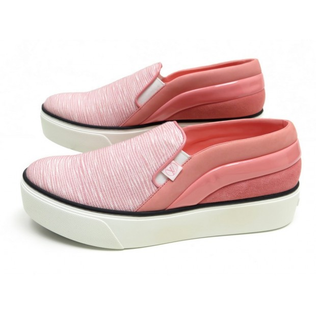 NEUF CHAUSSURES LOUIS VUITTON CATWALK 41 BASKETS CUIR ROSE SNEAKERS SHOES 610€