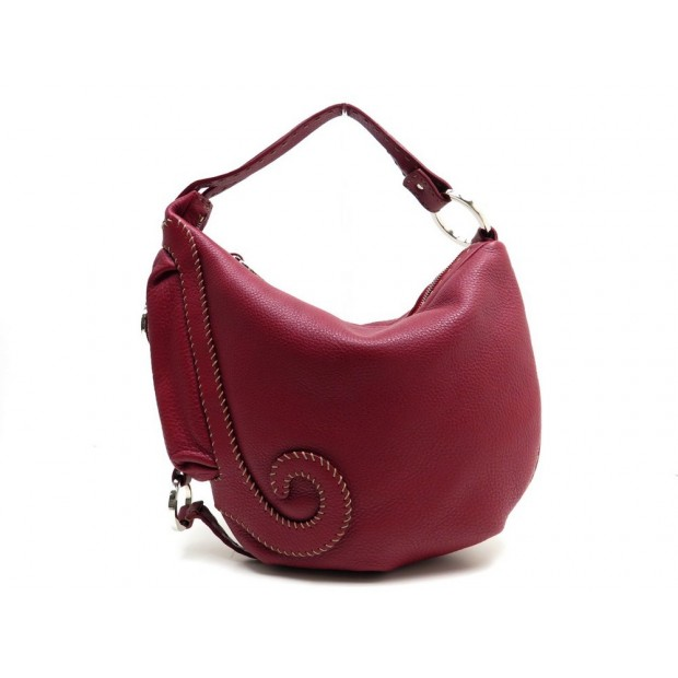 SAC A MAIN FENDI SELLERIA 8BR297 CUIR GRAINE ROUGE HAND BAG RED LEATHER 1600€