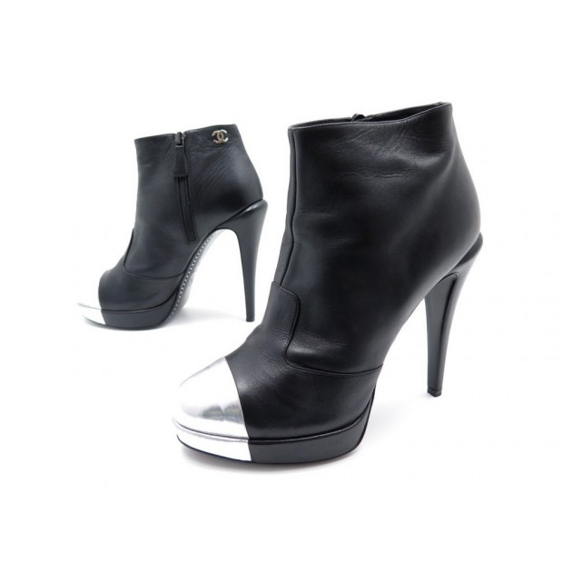CHAUSSURES CHANEL G27830 40 BOTTINES A TALONS CUIR NOIR LOW BOOTS SHOES 950€