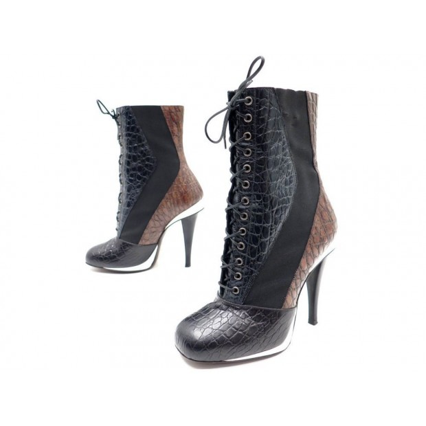 CHAUSSURES FENDI BOTTINES A LACETS 37.5 IT 38.5 CUIR FACON CROCO BOOTS 990€