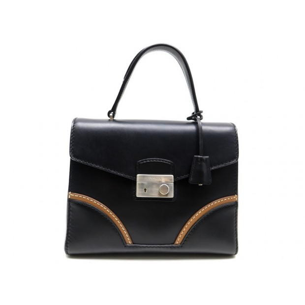 NEUF SAC A MAIN PRADA VACHETTA GM EN CUIR NOIR BLACK LEATHER HAND BAG NEW 1990€