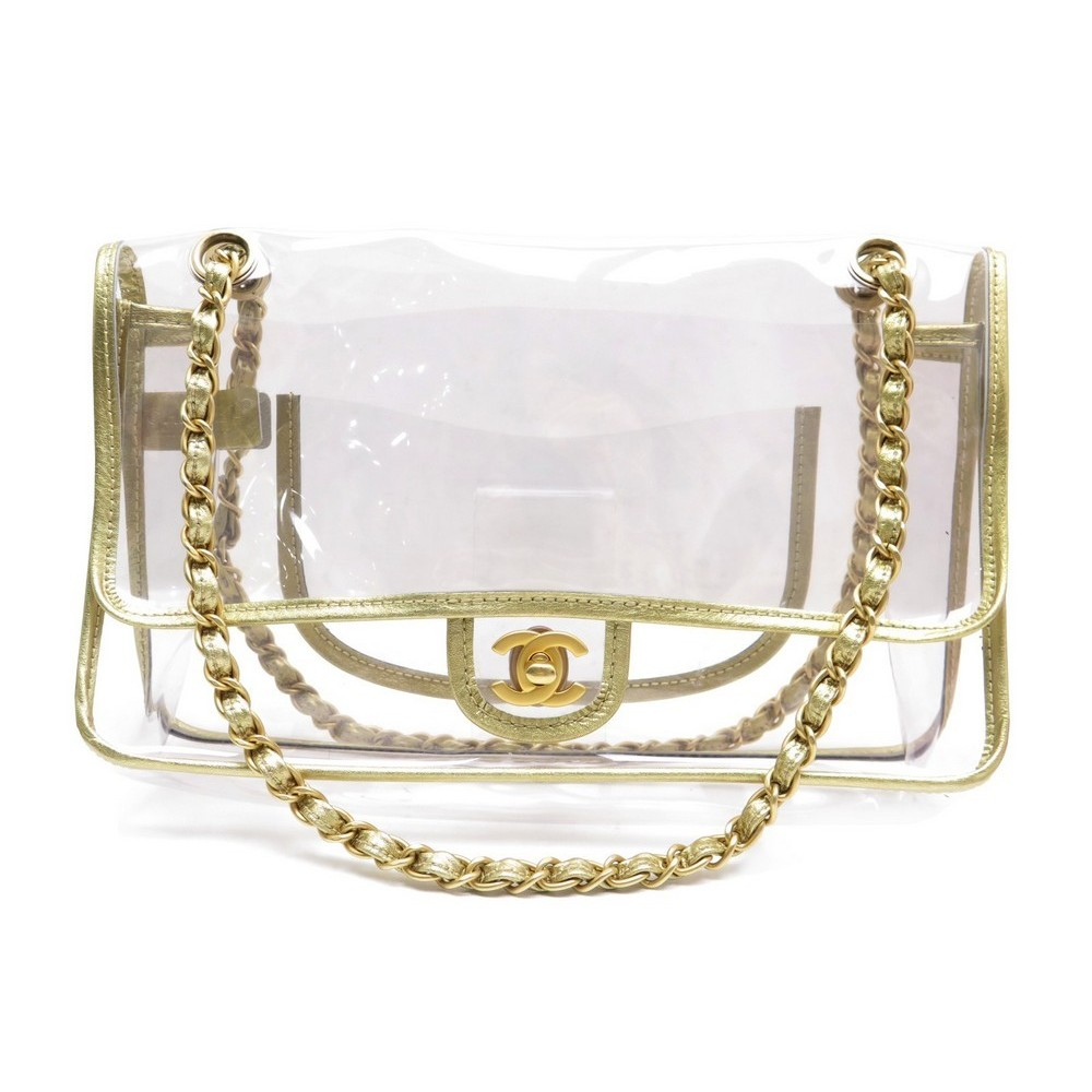 75eac57571f3 NEUF SAC A MAIN CHANEL TIMELESS 2.55 28 CM H VINYL TRANSPARENT CUIR HAND BAG.  Loading zoom