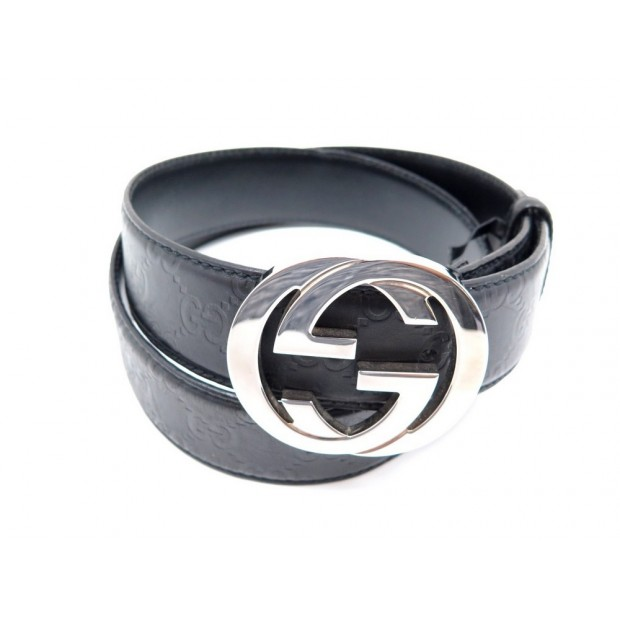 CEINTURE GUCCI GUCCISSIMA DOUBLE G 114984 T 95 EN CUIR NOIR LEATHER BELT 380€