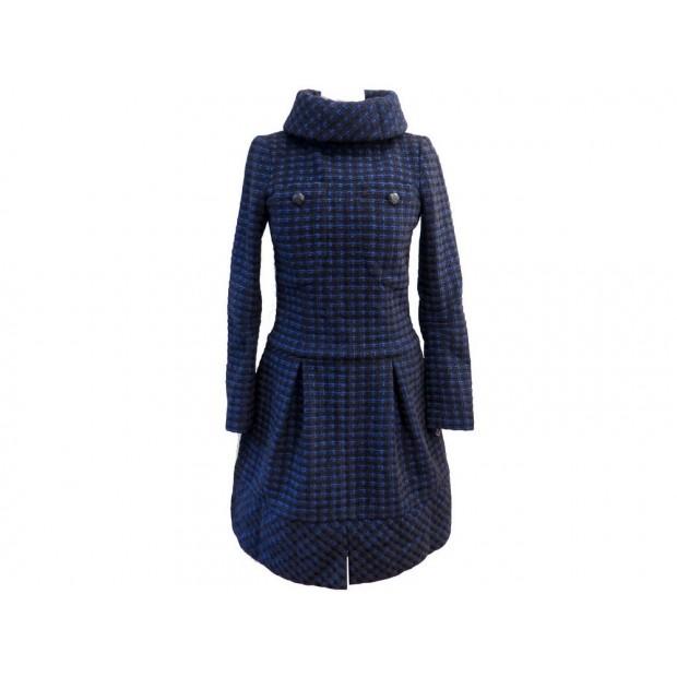 NEUF ROBE CHANEL FEMME 34 XS EN TWEED BLEU & NOIR WOOL BLUE BLACK DRESS 3800€
