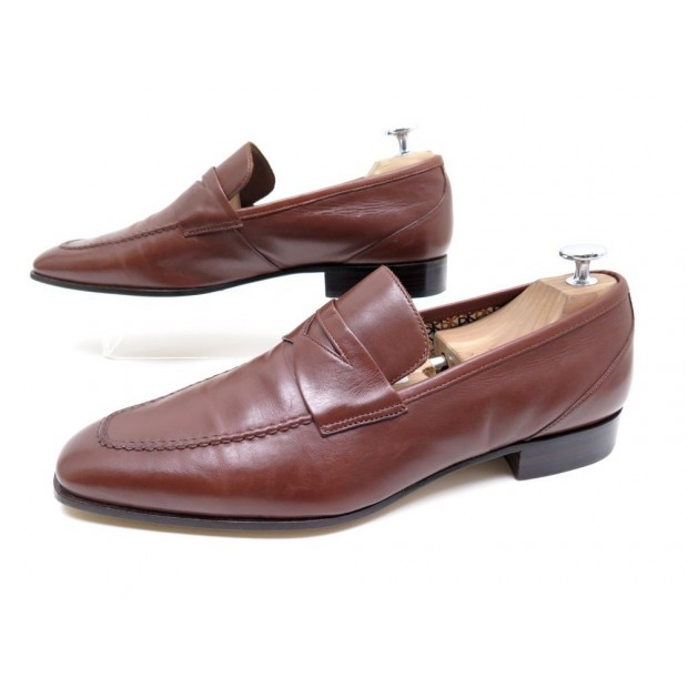 NEUF CHAUSSURES FRATELLI ROSSETTI 7 41 MOCASSINS CUIR MARRON LOAFER SHOES 380€
