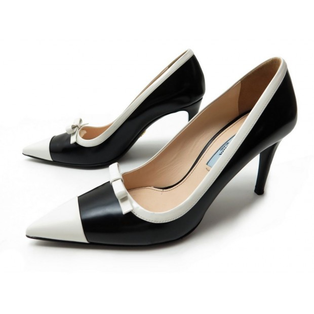 CHAUSSURES PRADA ESCARPINS 1I742E 36 IT 37 FR EN CUIR NOIR BLANC PUMP SHOES 520€