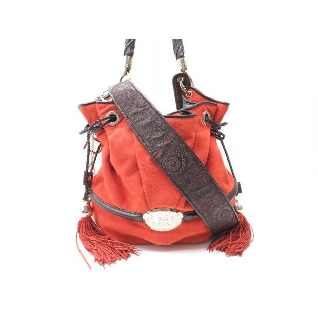 SAC A MAIN LANCEL BRIGITTE BARDOT BB CABAS ALCANTARA ORANGE HAND BAG 890€