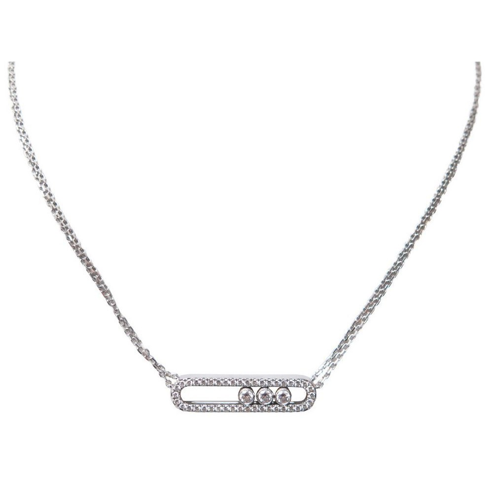 Collier Messika Move 3994 En Or Blanc Pavage
