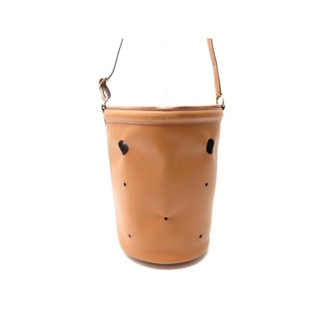 VINTAGE SAC A MAIN HERMES SEAU MANGEOIRE CUIR BOX GOLD HAND BAG BROWN LEATHER