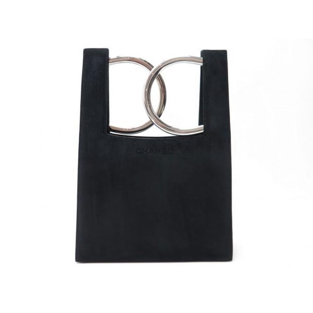 9b805f28189b rare sac a main chanel 36 cm en daim noir anneaux logo