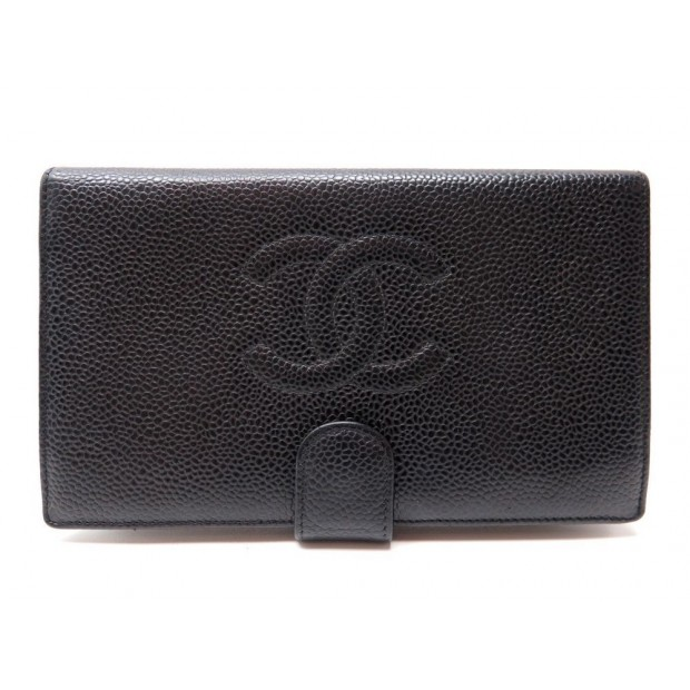 PORTEFEUILLE CHANEL LOGO CC EN CUIR CAVIAR NOIR + SAC BLACK LEATHER WALLET 765€