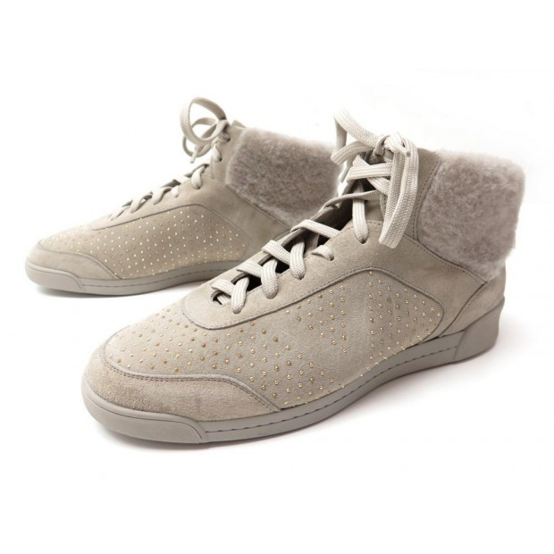 NEUF CHAUSSURES LOUIS VUITTON 37 BASKETS FOURREES DAIM GRIS SNEAKERS SUEDE 550€