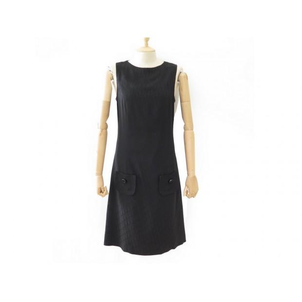 ROBE LONGUE CHRISTIAN DIOR M 40 EN VISCOSE NOIR MONOGRAMME BLACK DRESS 1500€